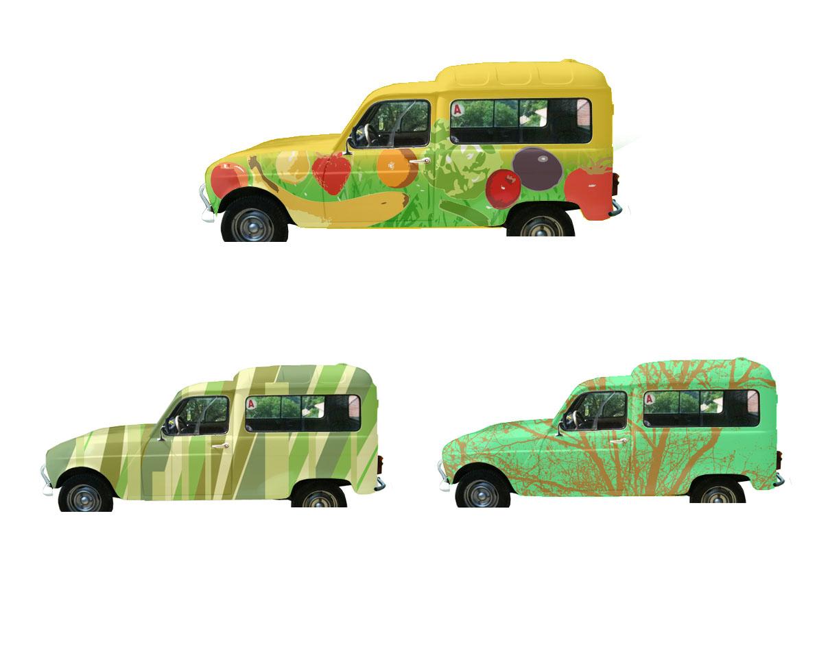 Infographie projet pour la réalisation d'une peinture sur voiture