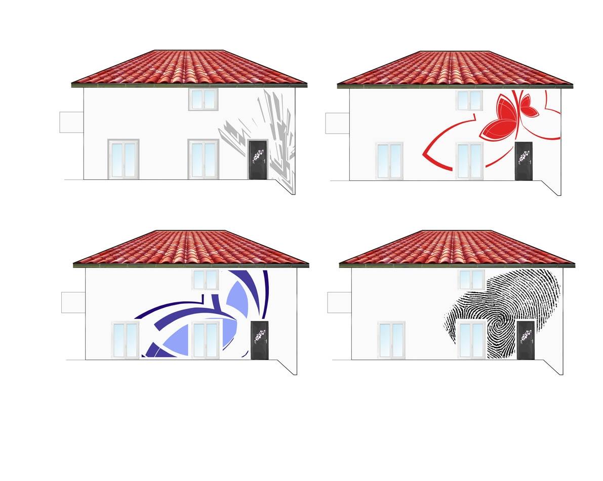Infographie projet pour une décoration murale sur maison