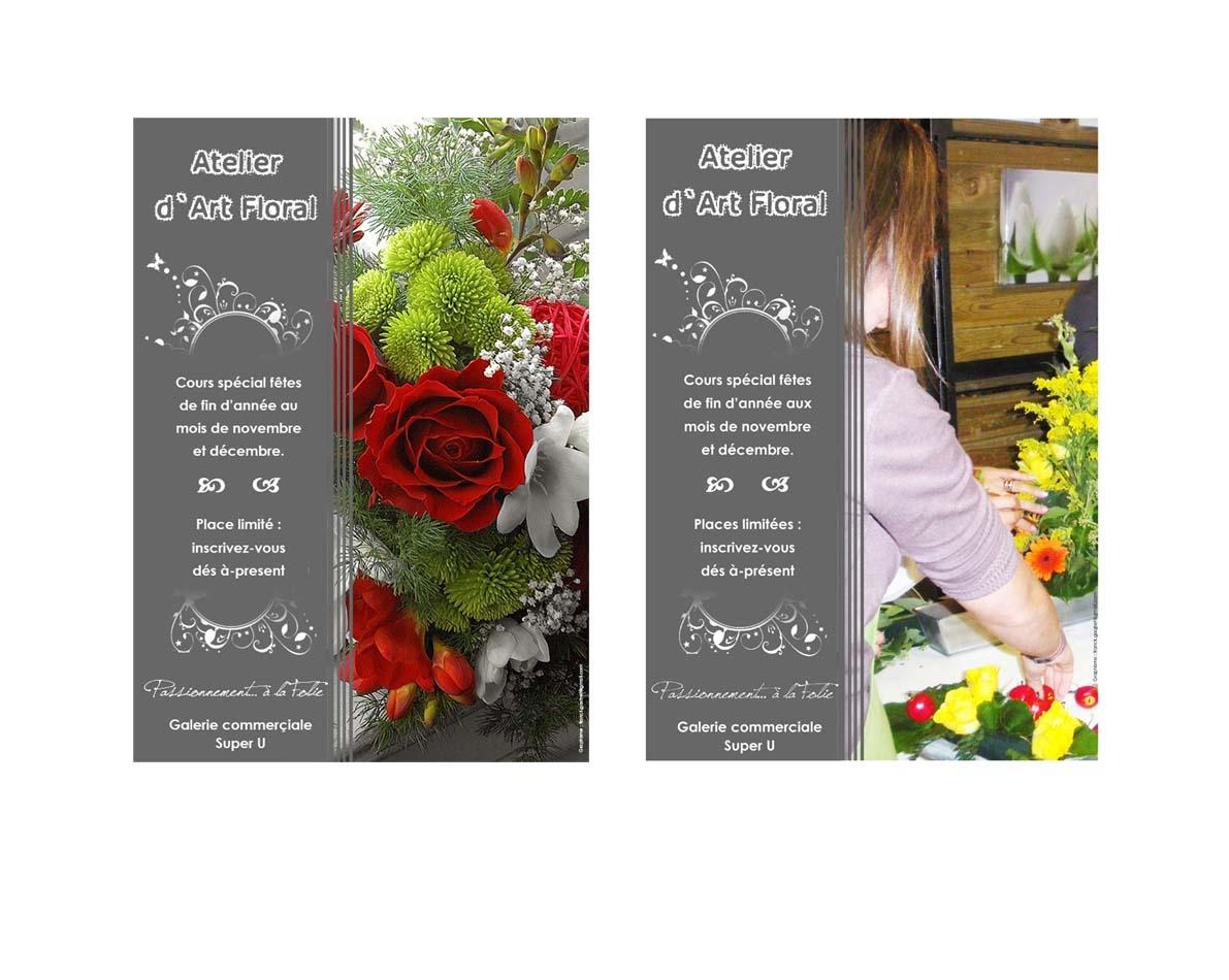 Infographie créations d'une affiche pour un magasin de fleur à Super U Pont de Beauvoisin Savoie