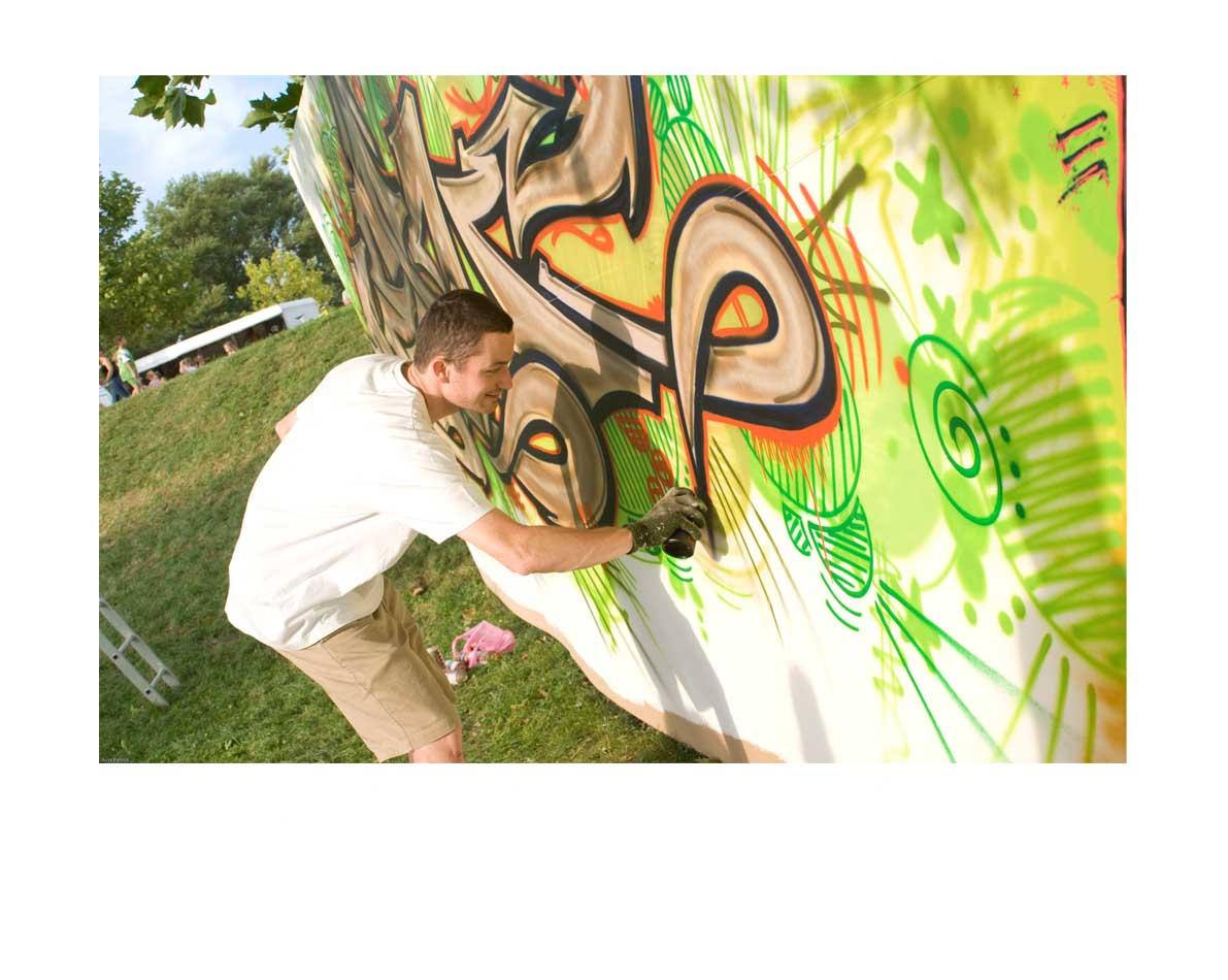 Réalisation extérieur pour le compte du festival de musique Woodstower au Parc de Miribel Jonage - Lyon