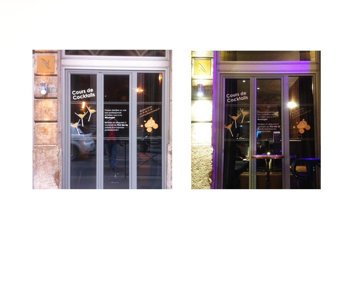 Infographie vitrine découpe pour le bar à cocktail Pick Me Up - Lyon