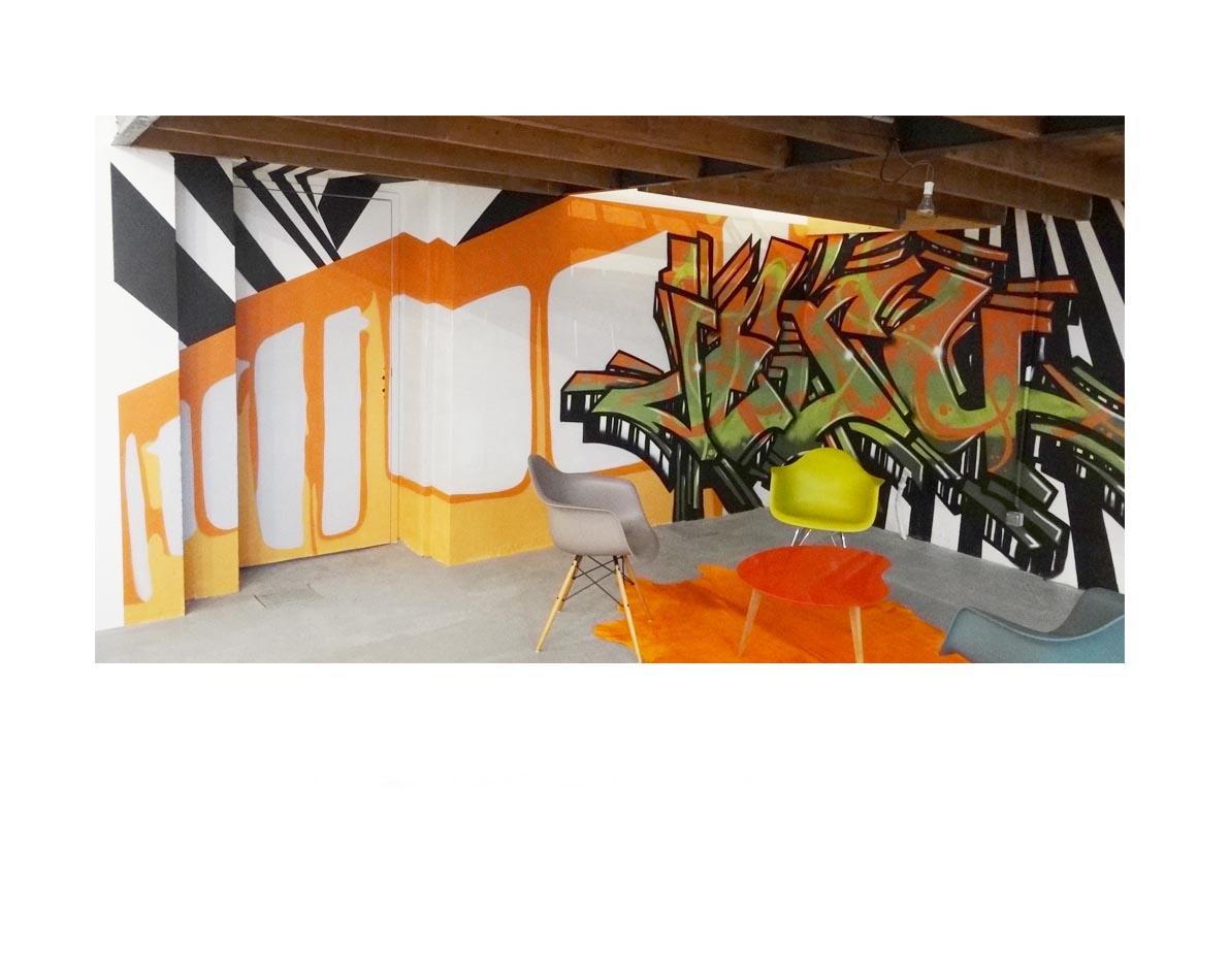 Création Graffiti intérieur - Lyon 6 - Espaces Atypiques - Métro lyonnais et Graffiti